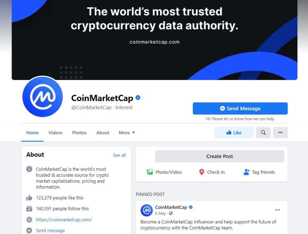 Официальная группа CoinMarketCap в Facebook